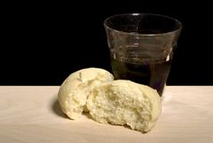 Blood and body of Christ. Communion still life on black Royalty Free Stock Photography