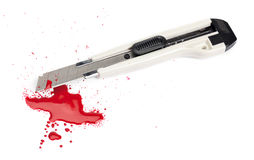Blood and a Boxcutter Royalty Free Stock Image