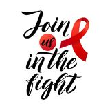 Blood Cancer Awareness Label. Vector Tamplate with Red Ribbon - Symbol of Cancer Fight. Blood Cancer Awareness Label. Join us in the fight. Vector Tamplate with Stock Photos