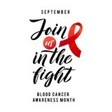 Blood Cancer Awareness Label. Vector Tamplate with Red Ribbon - Symbol of Cancer Fight. Blood Cancer Awareness Label. Join us in the fight. Vector Tamplate with Royalty Free Stock Photography