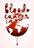 Blood cancer lettering. With world map image. Vector illustration in deep red color with liquid blood spot letters isolated on a light background. leucaemia stock illustration