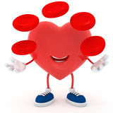 Blood cell. Smily heart with blood cell - 3D render Stock Photography