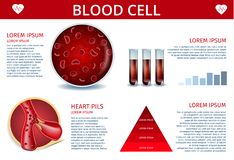 Blood Cell Infographic Banner with Copy Space. Blood Cell Medical Banner Depicting Icons of Artery, Erythrocyte Cell with Hemoglobin Inside, Red Sample Fluid in royalty free illustration
