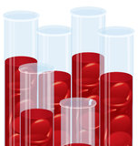 Blood cell many test tubes royalty free stock image