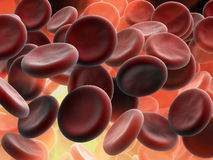 Blood cells. 3d render illustration of blood cells in arteries Royalty Free Stock Photo