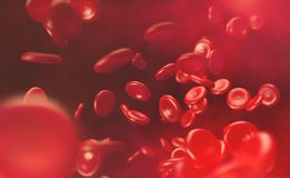 Blood cells. Blood flow of erythrocytes. Innovations in medical research royalty free illustration