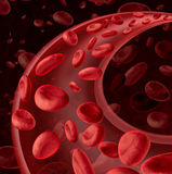 Blood Cells Circulation. Symbol as a medical health care concept with a group of three dimensional human cells flowing through a dynamic artery or vein royalty free illustration