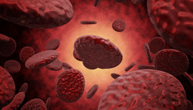 Blood cells cruising down a vein. 3d high quality rendering Royalty Free Stock Images