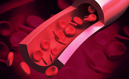 Blood cells. Digital illustration of blood cells in color background royalty free stock photo