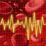 Blood cells with an ekg heart monitor symbol Stock Image