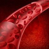 Blood cells flowing