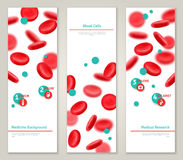 Blood cells. Medical concept banners set. Vector illustration. Glossy realistic natural red blood cells. Blood donation icons. Donor day infographics template Stock Illustration