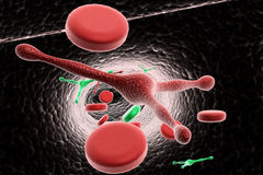 Blood cells with virus Stock Images