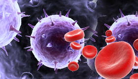 Blood cells with virus Royalty Free Stock Image