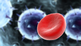 Blood cells with virus Royalty Free Stock Photos