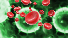 Blood cells with virus Royalty Free Stock Photo