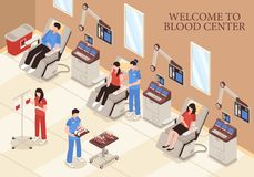 Blood Center Isometric Illustration. Blood center with donors in chairs modern medical technologies and professional staff isometric vector illustration stock illustration