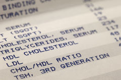 Blood and cholesterol screening results royalty free stock photos