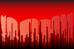 Blood City. A cityscape in blood red with a backdrop od running blood Stock Photography