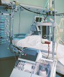 Blood collection container and other equipment in ICU stock images