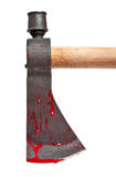 Blood Covered Axe Blade. A close-up of a bloody axe blade isolated on white Stock Image