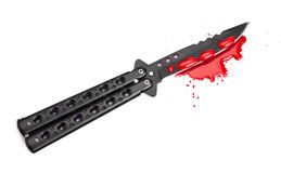 Blood Covered Butterfly Knife Royalty Free Stock Photography