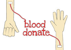 Blood donate giver and taker. Giver's hand and taker's hand with text blood donate on white background Royalty Free Stock Photo
