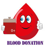Blood donation. Illustration of a nice blood drop smiling and holding a bag full of blood. It can be useful for blood donation company. Vector Stock Images