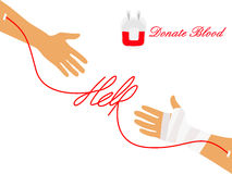 Blood Donation. Helping hand with wounded hand. Blood donation concept Royalty Free Stock Images