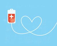 A blood donation bag with tube shaped as a heart. EPS10 vector format Stock Photo