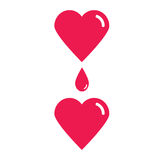 Blood donation. Blood transfusion. Vector conceptual illustration of blood donation from heart to heart. Stock Photos