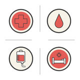 Blood donation color icons set Royalty Free Stock Images