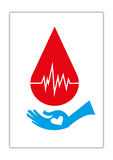 Blood Donation Concept. Blood Droplet with Life Monitor and a hand of recipient with a heart asking for donor blood Vector and jpg. Editable Clip Art vector illustration