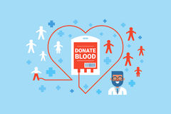 Blood Donation Concept. Illustration of blood donation flat design concept with icons elements Royalty Free Stock Photography