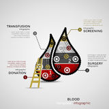 Blood donation. Concept infographic template with geared drops vector illustration