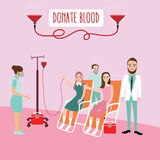 Blood donation donor waiting for transfusion helping others volunteer with nurse and doctor. Vector vector illustration