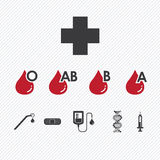 Blood donation Group icons set Royalty Free Stock Photos