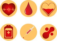Blood Donation Icon Set. Heart, blood, drop, counter, syringe and mataball molecule. Vector illustration EPS 10. Stock Images