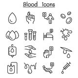 Blood donation icon set in thin line style. Vector illustration graphic design Stock Photo
