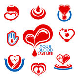 Blood donation icons for medical charity design Royalty Free Stock Photography