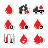 Blood donation  icons set Royalty Free Stock Photography