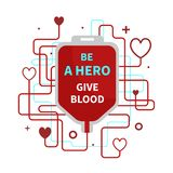 Blood donation infographic. Be a hero - give blood. Vector poster on the subject of blood donation stock illustration