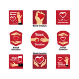 Blood donation labels and badges Royalty Free Stock Photo