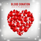 Blood donation poster, realistic illustration. Blood donation, healthcare, medicine poster, heart shape with red drops falling down, motivation card for Royalty Free Stock Photography