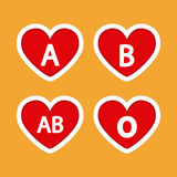 Blood donation. Set of heart shapes with different types of blood on a colored background Stock Photos