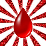 Blood Donation Symbol. As red cells flowing through veins and human circulatory system with a group of arteries shaped as a star burst pattern representing a Stock Images