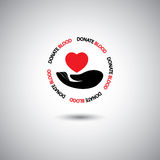 Blood donation vector - hand & red heart icon Stock Photo