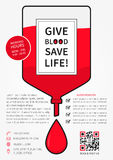 Blood Donation vector illustration with medicine dropper Royalty Free Stock Images