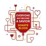 Blood donation infographic. Blood Donation vector illustration with red heart and drop counter. World Blood Donor Day Banner with a Red Blood Bag and Text stock illustration