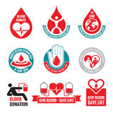 Blood donation - vector logo badges collection. World blood donor day - 14 June. Heart and blood drop illustration. Blood donate. Stock Images